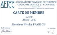 Psychologue TCC à Rueil-Malmaison : carte de membre de l'AFTCC de Nicolas FRANCOIS